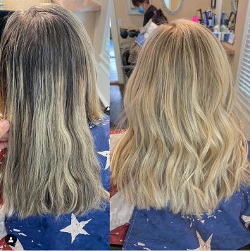 Shows before and after hair appointment